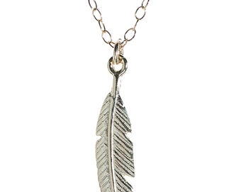 Silver Feather necklace,silver necklace,dainty necklace,minimalist necklace,sterling silver,feather charm,everyday necklace,gift for her