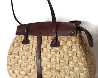 Vintage 60s John Romain Straw Hand Bag Doctors Style Bag, With Leather Handles