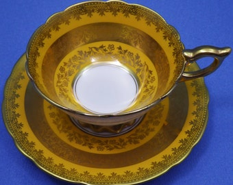 Royal Stafford Tea Cup & Saucer Set Stunning Tea Cup Lots of Gold Made in England 1950