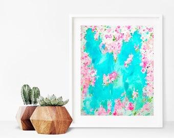 pink and aqua art - pink roses - nursery art - modern art - abstract art - acrylic on paper
