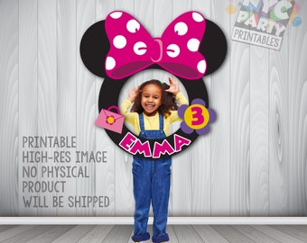 Minnie Mouse Round Photo Booth Frame, Circular Printable Minnie Mouse Photo Booth Frame
