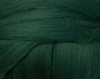 Dyed Merino - Tartan - Solid color commercial dyed - combed top roving spinning felting fiber fibre arts  - dark blue green