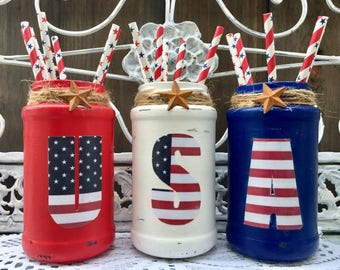 3 Patriotic Americana American Flag USA Painted Glass Jars Vases Red White Blue Independence July 4th of July Day by Sweet Vintage Designs