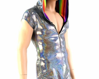 Mens Zipper Front Silver Holographic Cap Sleeve Hoodie Dragon Romper with Rainbow Stripe Hood Liner and Spikes - 154130