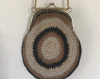 Made in Italy Woven Clutch Brown Beige Knit Chain Strap Boho Hippie