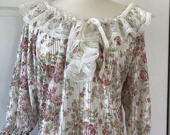 Lady Cameo Dallas Mini nightgown Flowy Lace Trim Loungewear Medium