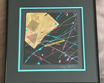 Rick Tunkel 91 Original Abstract Collage Art Exhibit Piece Paiting