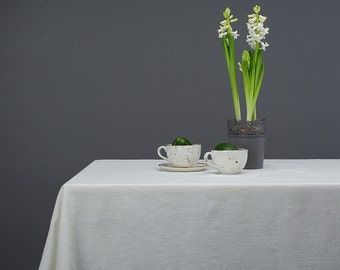 Linen Tablecloth Natural Stone Washed White Flower