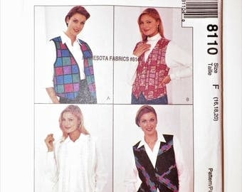 Misses Plus Size Sewing Pattern Vest Or Shirt With Attached Vest Fronts UNCUT Sizes 16-18-20 Bust 38-40-42 Nancy Zieman Vintage