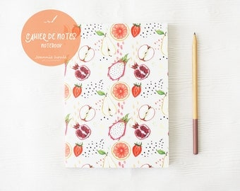 Notebook with fruits pattern, illustration by Joannie Houle