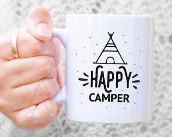 "Happy Camper gifts, ""Happy camper"" mugs, camper presents, for him, for her, rv camper, motorhome gifts,  gifts for hikers, for her MU527"