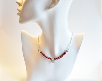 Women's Beaded Red Heart Necklace