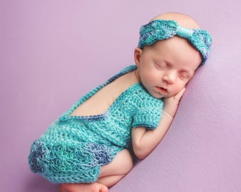 Pattern- Crochet Newborn Baby Girl Outfit with Romper, Bonnet Hat, and Headband Photo Prop; Crochet Newborn Twin Baby Girls Photography Set