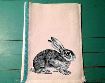 Rabbit Towel, Easter Rabbit, Bunny Kitchen Towel, Tea Towel, Linens,Bar, Herringbone, Flour Sack, Caribbean Green Stripe, Custom,Whimsical