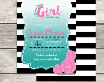 Black and White Girl baby shower invitation, with pink flowers and teal ombre in custom printable digital invitation files