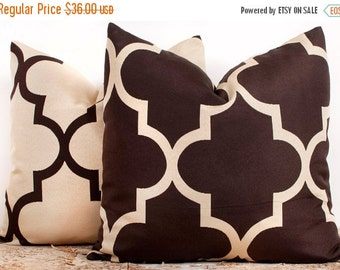 SALE ENDS SOON Brown and Cream Trellis Pillow Case Set, Luxury Cotton Pillow Cases, Pillowcases for Sofa, Two 18 x 18