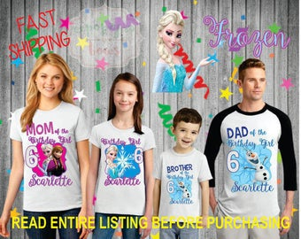 Frozen theme birthday Girl theme Shirts for the entire family Girl Dad Mom Brother Age Name Custom Theme Raglan T-shirt Elsa anna olaf