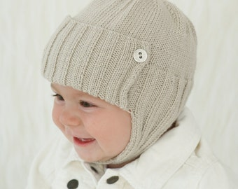 BABY BOY: Soft Knit Baby Hat, Aviator Knit Hat, Baby Knit hat, sizes from Newborn