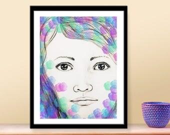 Printable Home Decor - Woman with Blue Flowers - Print at Home - INSTANT DOWNLOAD Art - Printable Wall Art - DIY Prints -Printable Artwork
