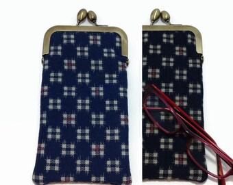 Navy Eye glass case/ Smartphone case /Sun glass case / Hand-made/36