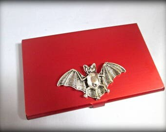 Slim red Stainless steel business card holder-credit card holder-bat  card holder-gothic card holder-steampunk business card holder
