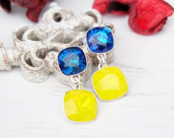 Yellow bermuda blue Swarovski crystal earrings Wedding bridesmaids earrings Sterling Silver  earrings Square cushion cut crystal earrings 1