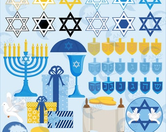 Hanukkah Clipart, Hanukkah Dreidel, Menorah Digital Clipart, Chanukah Clipart, Holiday Clipart, Commercial Use, AMB-1535