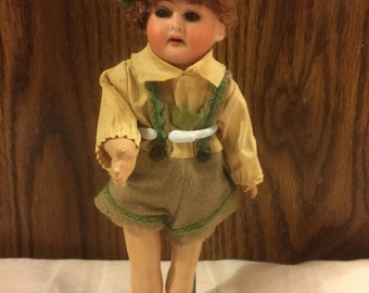 "Antique German Bisque boy doll /8"" tall/ German outfit"