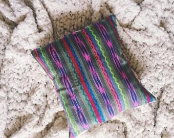 Handwoven Sea Foam Green Pillow Cover with Multicolored Design