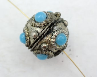 28mm large size Nepalese Silver Bead with turquoise Inlay - Round Tibetan Beads - antique Silver Beads - 1 Bead