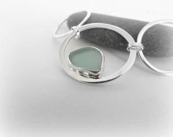 Special price: Sea glass necklace. Maine jewelry. Sea Glass Pendant Seaglass jewelry. Bezel sea glass. Beach glass jewelry. Silver necklace.