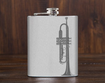 Trumpet hip flask // music themed gifts // gift for jazz lover // music gifts // 7 oz