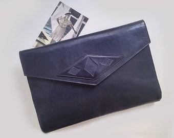 70s Vintage blue leather bag, Dark blue leather clutch bag, Navy Blue shoulder bag,