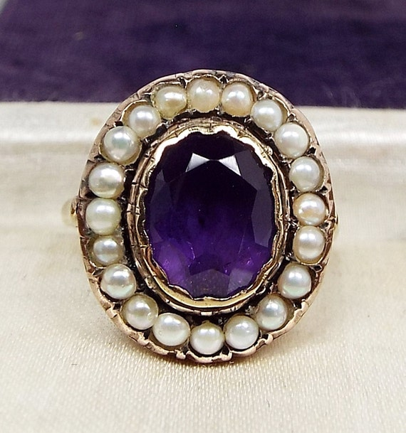 Georgian Victorian 9ct Gold Foiled Amethyst and Pearl Cluster Ring / Size O