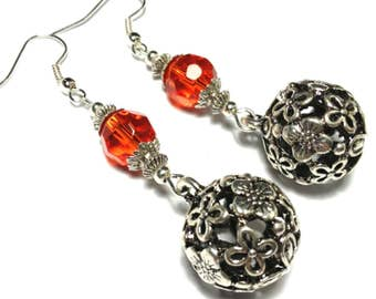 Red Earrings, Vintage Style - Glass Beads, Hooks, Plated or 925 Silver, Clip-On or Butterfly Studs (ET 17-14)