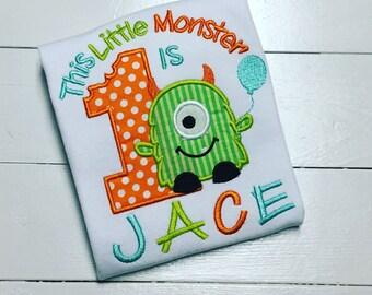 Little Monster Birthday Shirt,Sibling Monster set, Personalized Boy Monster, Monster 1st birthday,Embroidered monster shirt