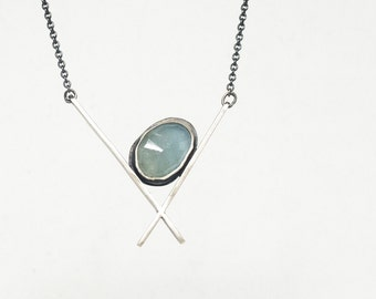 Aquamarine and sterling silver geometric necklace