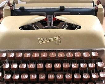 Typewriter Rheinmetall,German typewriter,Soemmerda,vintage office, portable working typewriter  office furniture gift for him