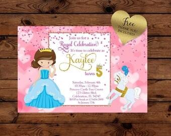 Princess Birthday Invitation, Fairytale Princess, Glitter Invitation, Sparkle Birthday, Princess, Fairytale, Birthday Invitation