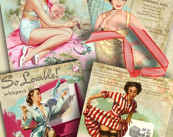 Girls - Pin Up - digital collage sheet - set of 6 cards - Printable Download, pinup girls digital download, printable stickers, decoupage