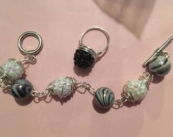Black and Silver Caged Bead Bracelet with Wire Wrapped Black Raspberry Ring