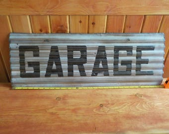 Rustic Corrugated Metal GARAGE Sign, Vintage Weathered Old Rusty, Shabby Salvage 29 inches wide X 10 inches tall