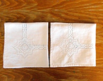 Vintage Off-White Napkins with Off-White Embroidery and Cutwork, Set of Two