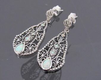 Vintage Sterling Silver White Opal Filigree Earrings