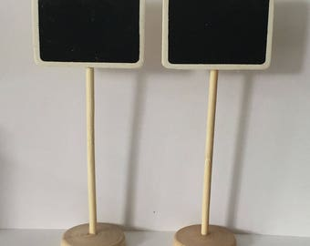Set of 10 - Mini Chalkboard Stands - Blackboard Table Numbers - Wedding Signage - Buffet Props - Party Supply Great handmade Chalkboard