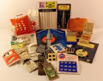 Large Lot of Vintage Sewing Notions. Woolworth Needle Book, Pincushion, Dress Fasteners, Run Arrestor Wands, Needles, Clinton Safety Pins.