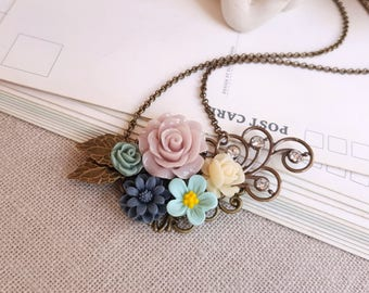 Flower assemblage necklace Rhinestone flower pendant Vintage inspired Mauve and blue flowers
