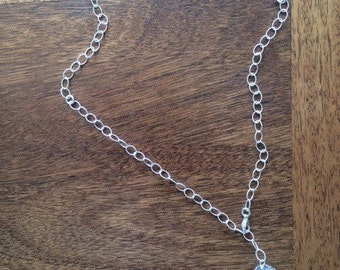 "Large cut out sterling heart with ""Venustas"" (beauty in Latin) stamped,your choice of chain and pearls or a bali bead"