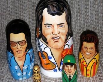 Elvis on Five Russian Nesting Dolls. Rock.