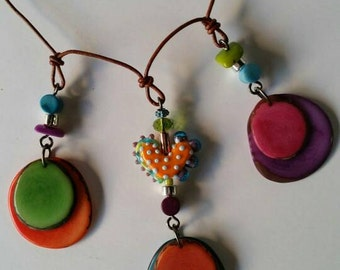 Bright Bohemian necklace. Colorful Tagua and Artisan Lampwork Beads. Statement Necklace made with Natural Tagua Nut. Adjustable! OOAK